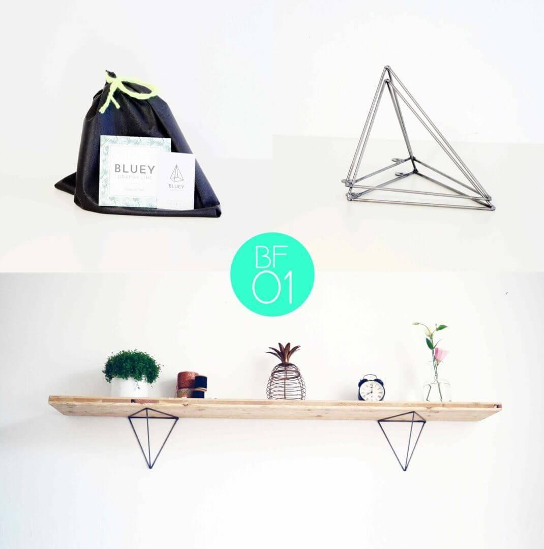 set de 2 querres murales pour tag re en acier trait vernis brillant ref bf01 pour une. Black Bedroom Furniture Sets. Home Design Ideas