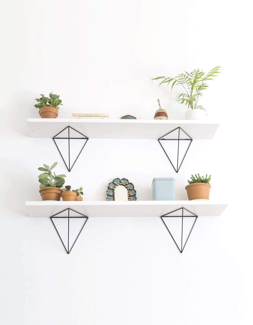jeu de 2 querres bf 01 couleur noir pour tag re g om trique minimaliste. Black Bedroom Furniture Sets. Home Design Ideas